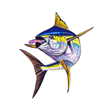 Aliauto Fish Yellow Fin Tuna Squids Car Stickers Automobiles Motorcycles Home Truck SUV Boat Decoration PVC Decal 13cm*11cm cheap The Whole Body Glue Sticker Animal Creative Stickers Not Packaged