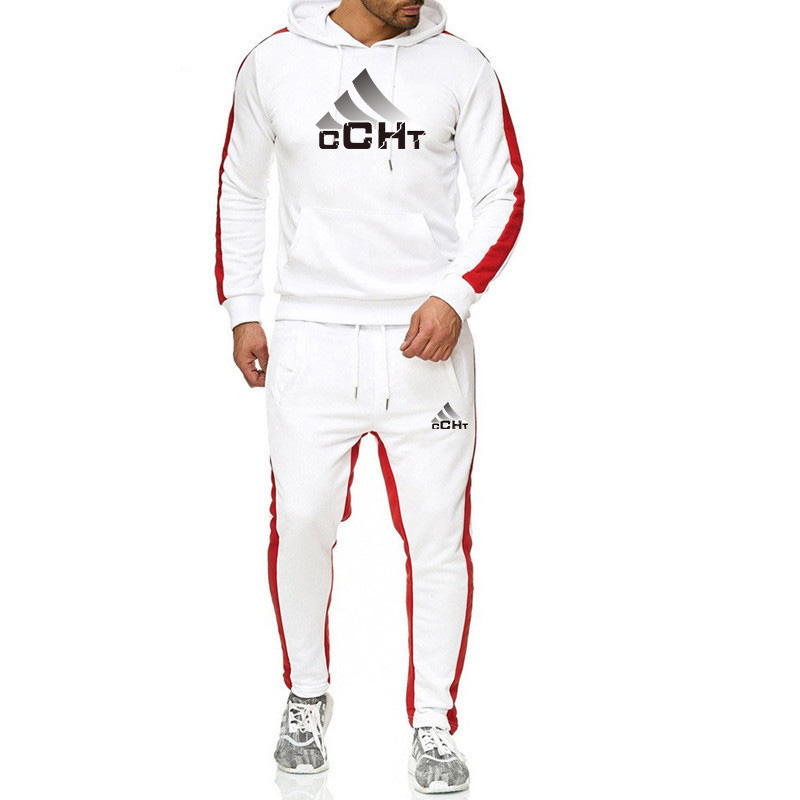 Men's Brand Sets Thick Hoodie+Pants Printing Logo Sport Suits Casual Sweatshirts Tracksuit Male Sportswear Gyms Fitness Trouser