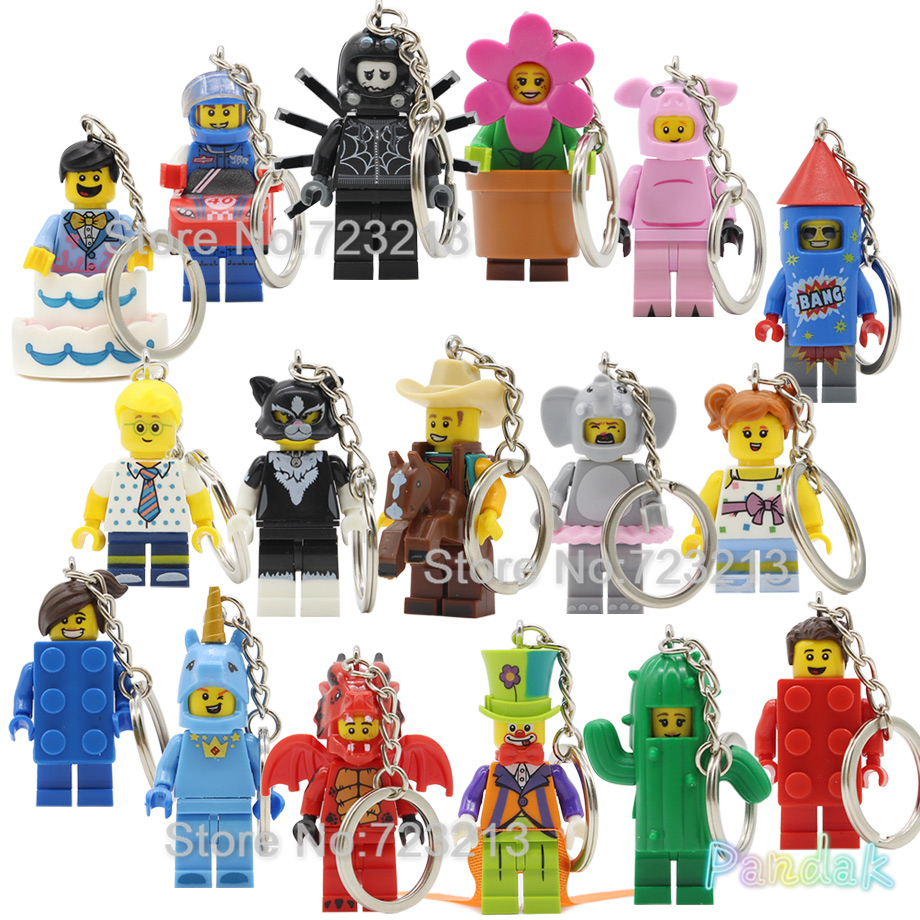 Clown Firework Unicorn Dragon Man Figure Keychain Cowboy Pig Cake Boy Cactus Balloon Girl Building Blocks Bricks Toys Legoing