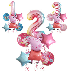 6pcs Peppa Pig color George Birthday Party balloon decor 1 2 3 4 5 6 7Birth number globos Pink Blue Pig baby shower toys Party s(China)