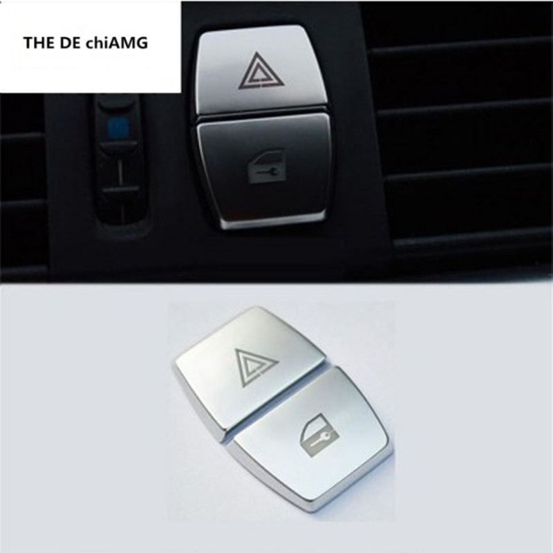 Car Styling Front Warning Light Button Stickers Decorative Frame Cover Trim For BMW 5/6/7 Series F10 GT F07 F01 Auto Accessories