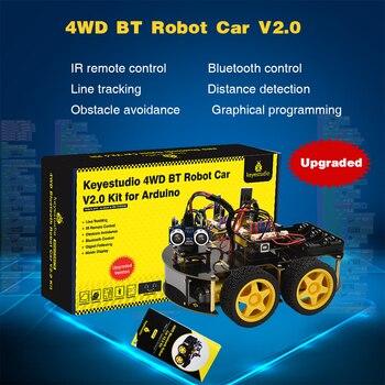 Keyestudio 4WD Multi BT Robot Car Kit Upgraded V2.0 W/LED Display  for Arduino Robot Stem EDU /Programming  Robot Car/DIY Kit led costume led clothing light suits led robot suits kryoman robot david guetta robot size color customized