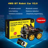 Keyestudio 4WD de BT Robot Kit de coche actualizado V2.0 W/pantalla LED para Arduino Robot madre EDU/programación Robot coche/DIY Kit