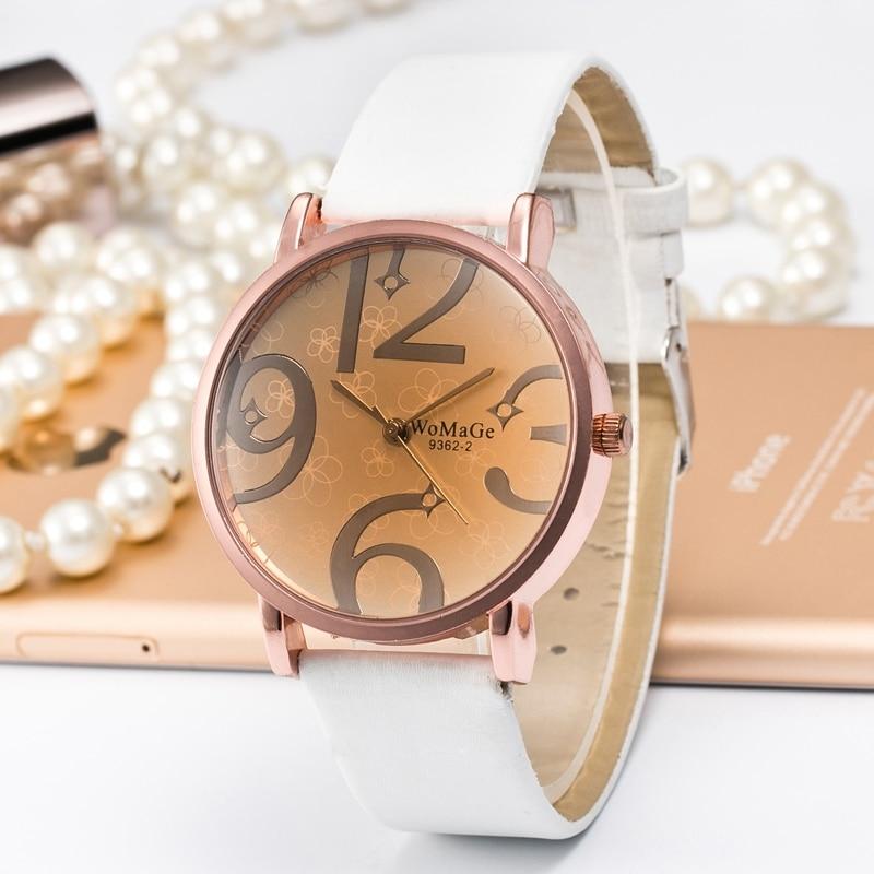 Fashion WOMAGE Watches Ladies Casual Womens Leather Band Quartz Wristwatch relogio feminino zegarek damski