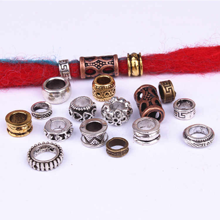 10pcs/pack Antique Silver different 15 styles hair braid dread dreadlock beads rings tube approx 5.9-6.4mm inner hole jewelry