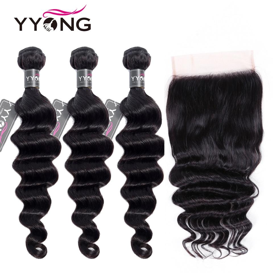 Yyong 6x6 Closure With Bundles Loose Deep Wave 3/4 Human Hair Peruvian Remy Lace