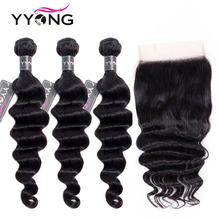 Yyong 6x6 Closure With Bundles Loose Deep Wave 3/4 Human Hair Peruvian Remy Lace