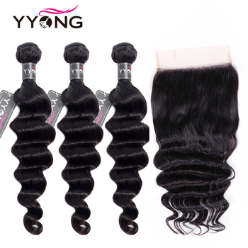 Yyong 6x6 Closure With Bundles Loose Deep Wave 3/4 Bundles Human Hair With Closure Peruvian Remy Hair Bundles With Lace Closure image