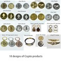 Gold Plated Bitcoin Bit coin Ripple Litecoin Ethereum Collection Gift 40mm Cryptocurrency Coin Metal Commemoration Coin