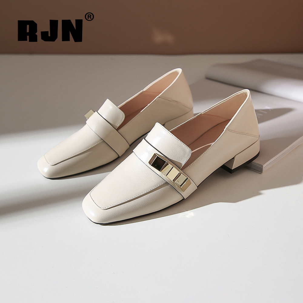 Hot Sale RJN Elegant Women Pumps Matel Decoration Cow Leather Stylish Comfortable Square Toe Low Square Heel Shoes Slip-On Loafers RO40