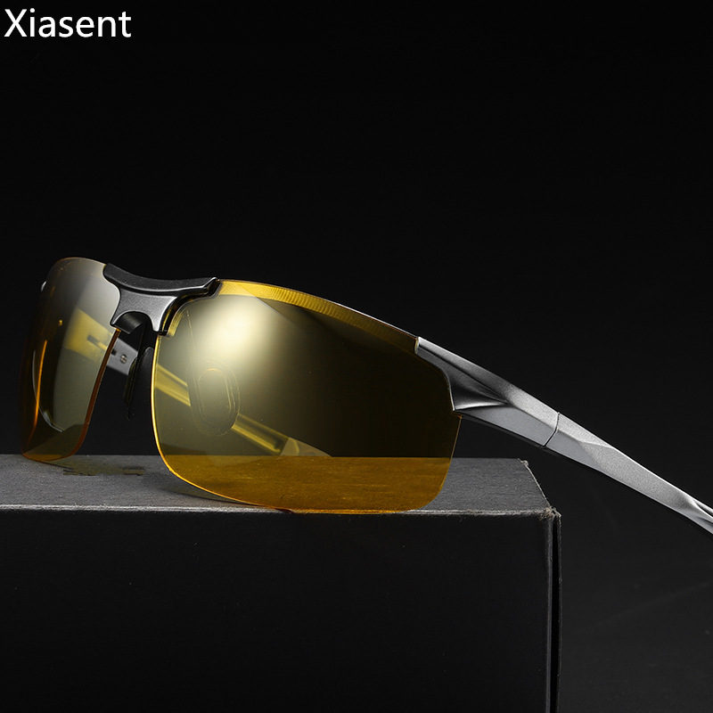 Color-changing night vision goggles Aluminium-magnesium mens polarized color sunglasses Half-frame sports driving