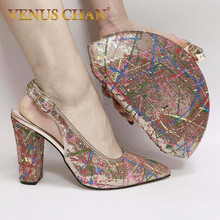 Shoes Party-Pumps Wedding Rhinestone Women with Matching-Bags And Bag-Set for New
