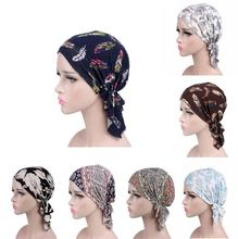 2019 NEW Fashion Women Flower Muslim Ruffle Cancer Chemo Hat Beanie Scarf Turban Head Wrap Cap Printed Headwear Lady Hats New