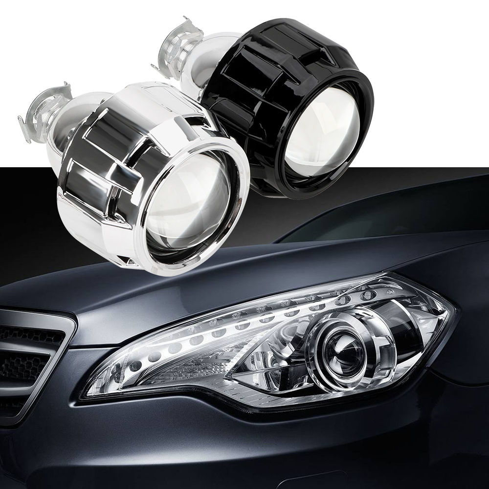 2.5 Inch Motorcycle Car <font><b>Headlight</b></font> Accessories Silver Black Shell Xenon HID Projector <font><b>Lens</b></font> For H1 Xenon <font><b>LED</b></font> Bulb H4 <font><b>H7</b></font> image