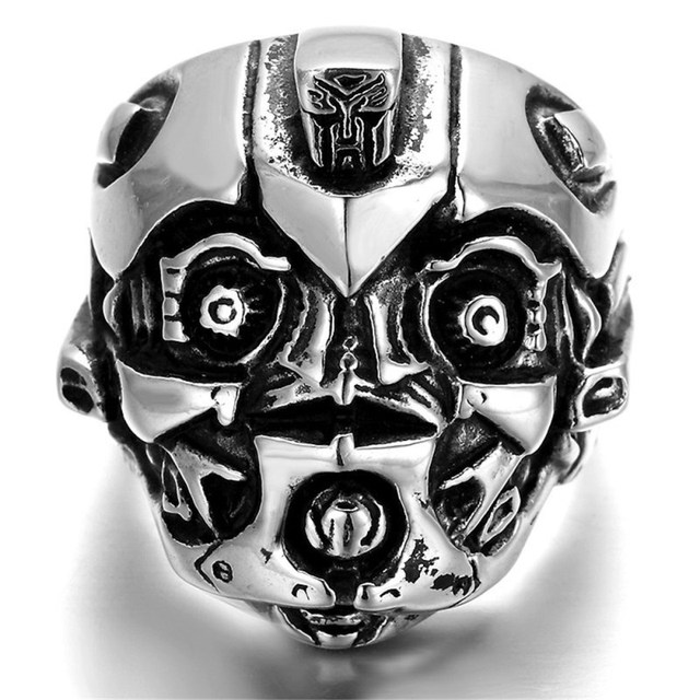 Bague tête de mort robot