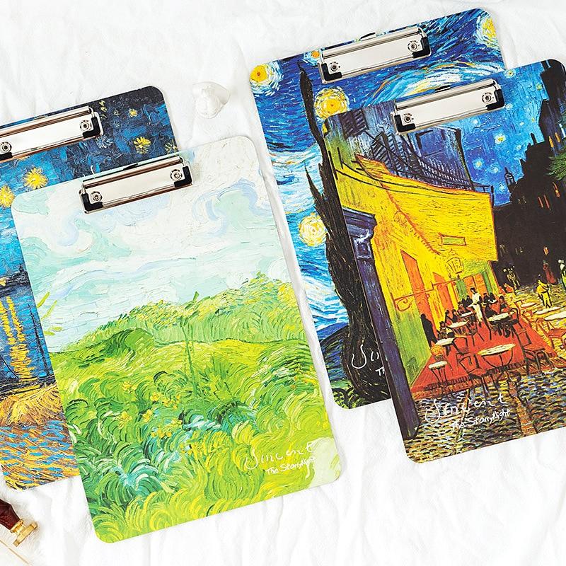 Folder For Documents Van Gogh Oil Painting Pattern Clip Folder A4 Writing Board Folder Board Drawing Pad Document Organizer