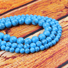 Blue Pine Natural Stone Bead Round Loose Spaced Beads 15 Inch Strand 4/6/8/10/12mm For Jewelry Making DIY Bracelet