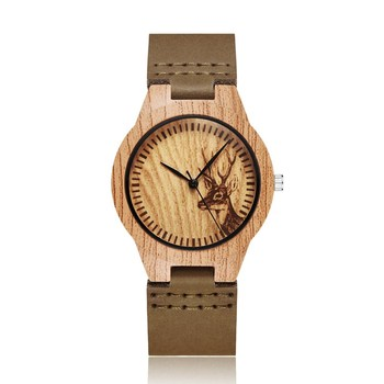 Gorben Unique Fashion Wooden Watches Leather Band Women Wristwatches Natural Quartz Watch Clock Top Souvenir Gifts Wood Watch