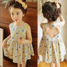 Floral Print Girls Dresses Sleeveless Children Dresses For Girls Backless Girls Summer Dress Princess Clothes Costume 2021