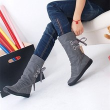 Women Fashion Mid-Calf Boots Platform Boots Slip On Lace-up Solid Flat Heels Ladies Casual Warm Shoes
