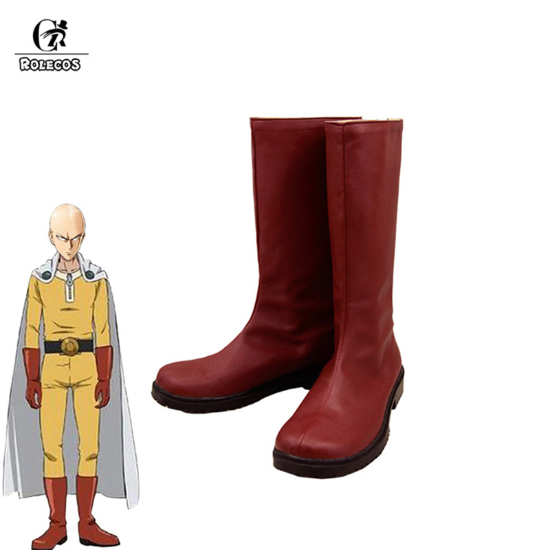 ROLECOS Anime One Punch-Man Cosplay Shoes Saitama Cosplay Battle Suits Red High Boots For Men Cosplay Shoes Customized Made