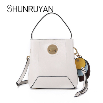 SHUNRUYAN Fashion Famous Brand  Women  Genuine Leather Handbag Messenger Bags Shoulder Crossbody Bags With Pendant