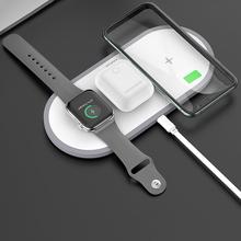 Bezprzewodowa ładowarka HOCO 3w1 dla iphone 11 Pro X XS Max XR dla Apple Watch 5 4 3 Airpods Pro QI szybki stojak do ładowarki Samsung S20 tanie tanio Z wskaźnik ładowania Z kablem Typ C CN (pochodzenie) Apple iphone Fast Wireless Charger Pad For Apple Watch 5 4 3 Qi Wireless Charging For Airpods Pro