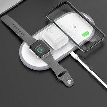 HOCO cargador inalámbrico 3 en 1 para iphone 11 Pro, X, XS, Max, XR, Apple Watch 5, 4, 3, Airpods Pro, QI, soporte de carga rápida para Samsung S20