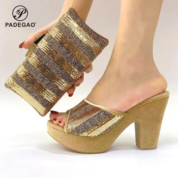 Gold Color Fashion High Heels Sandals And Matching Bag Set For Party 2020 Hot Sale African Woman Shoes And Bag To Match Set