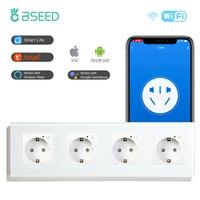 BSEED Wifi 4 콘센트 EU 표준 전원 소켓, 흰색 Gloden 크리스탈 유리 패널 110-240V 전기 EU 소켓
