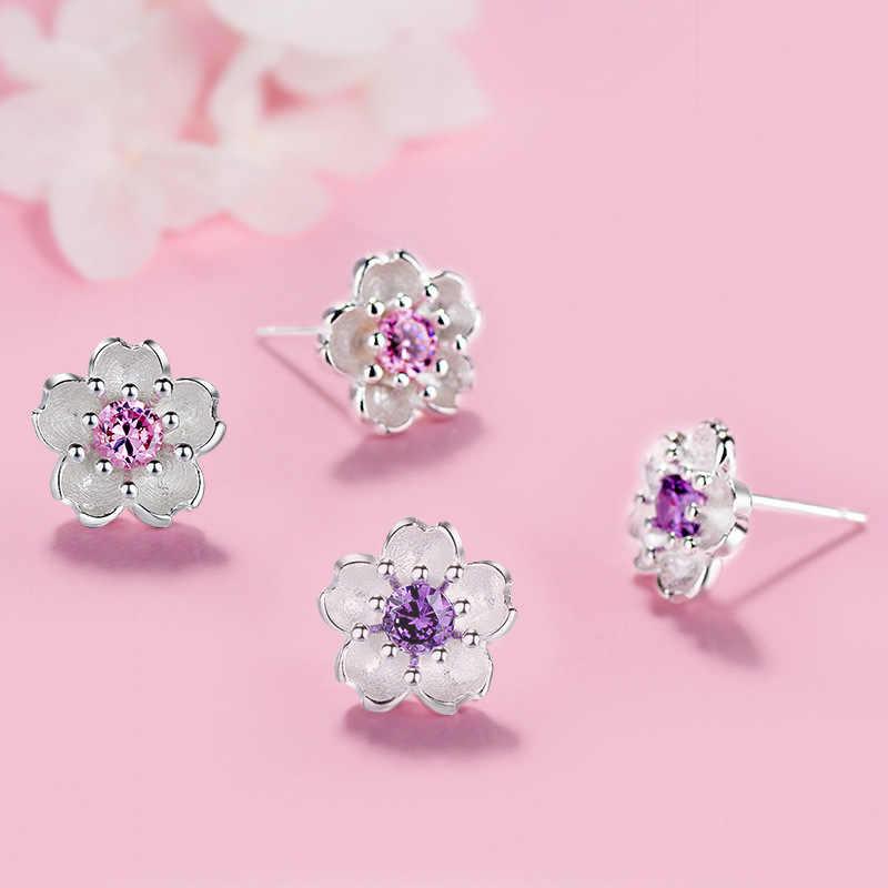 Encanto plata esterlina 925 Rosa flores de cerezo circón cristal Aretes Regalo