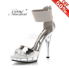 13cm Womens Fashion Platform Ankle Strap Sandals Wedding Party Model Crystal Rhinestone Shoes 5 Inch Sexy Evening High Heels plus size beautiful dress high heels 13cm sexy crystal platforms pole sandals rhinestone straps wedding shoes