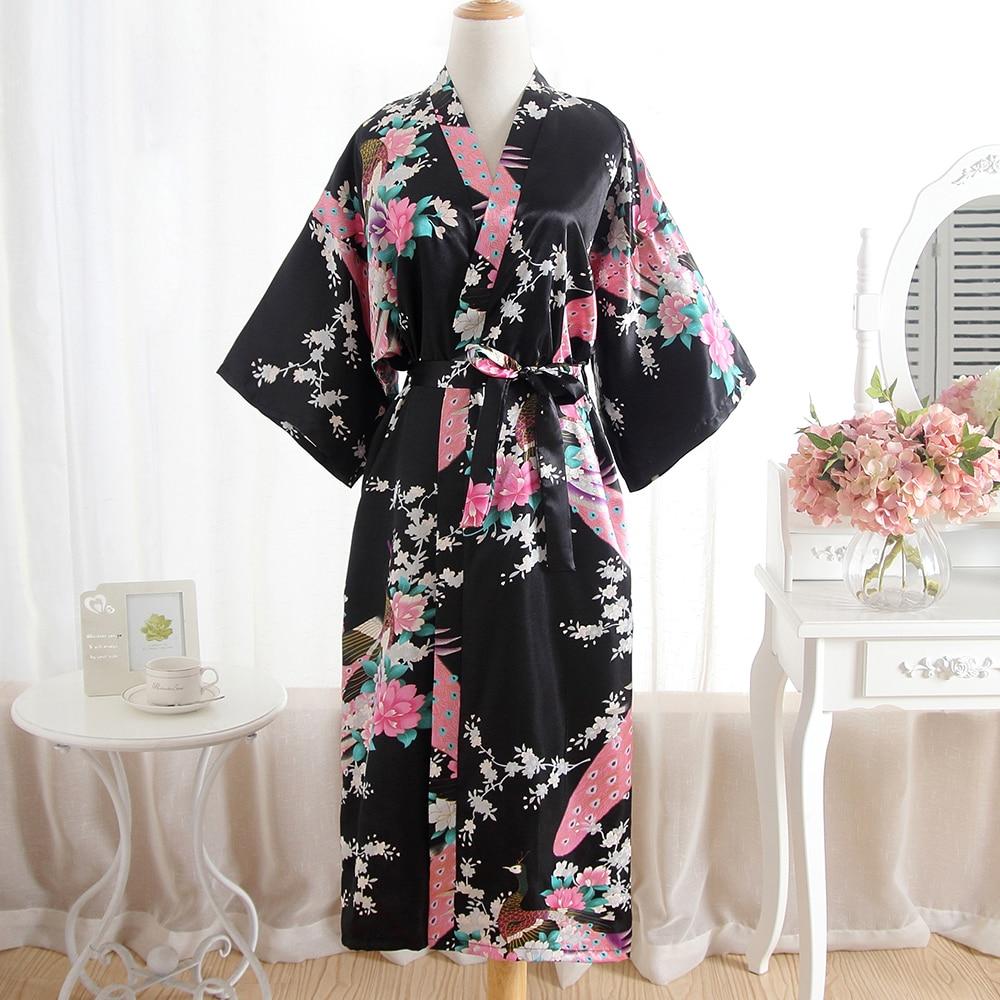Black Print Peacock Long Ladies' Kimono Bathrobe Gown Sexy Casual Sleepwear Intimate Lingerie For Women Loose Summer New Robe