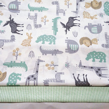 Children #8217 s Cotton Fabric By Meter Breathable Quilting Fabric for Sewing Baby Dress Skirt Cotton Fabric Animal Rhapsody Rabbit cheap Woven Other Fabric 100 Cotton Printed Twill 160 cm Brocade Fabric 100 cotton cartoon rabbit deer green Children cotton fabric
