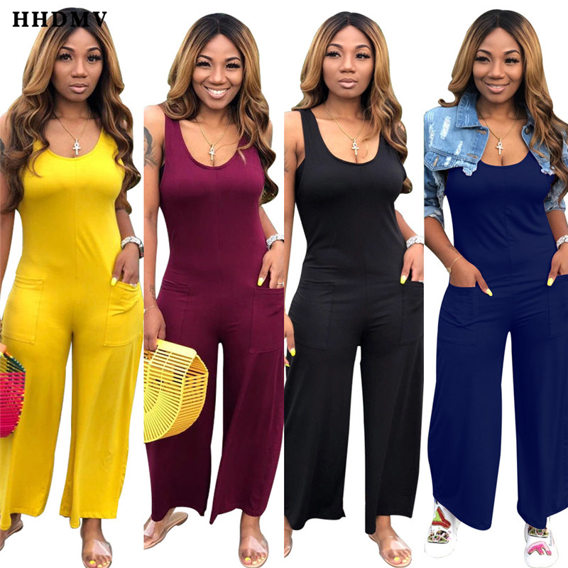 HHDMV WNY8839 casual pure color jumpsuits sleeveless round neck vest type pockets reduction of age loose jumpsuits long pants
