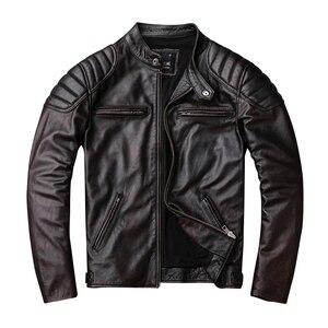 Image 2 - Bezpłatna wysyłka, marka vintage kurtka z prawdziwej skóry. Mężczyzna brązowy motor biker skóry wołowej płaszcz. slim kurtki w dużych rozmiarach. outwear sprzedaży