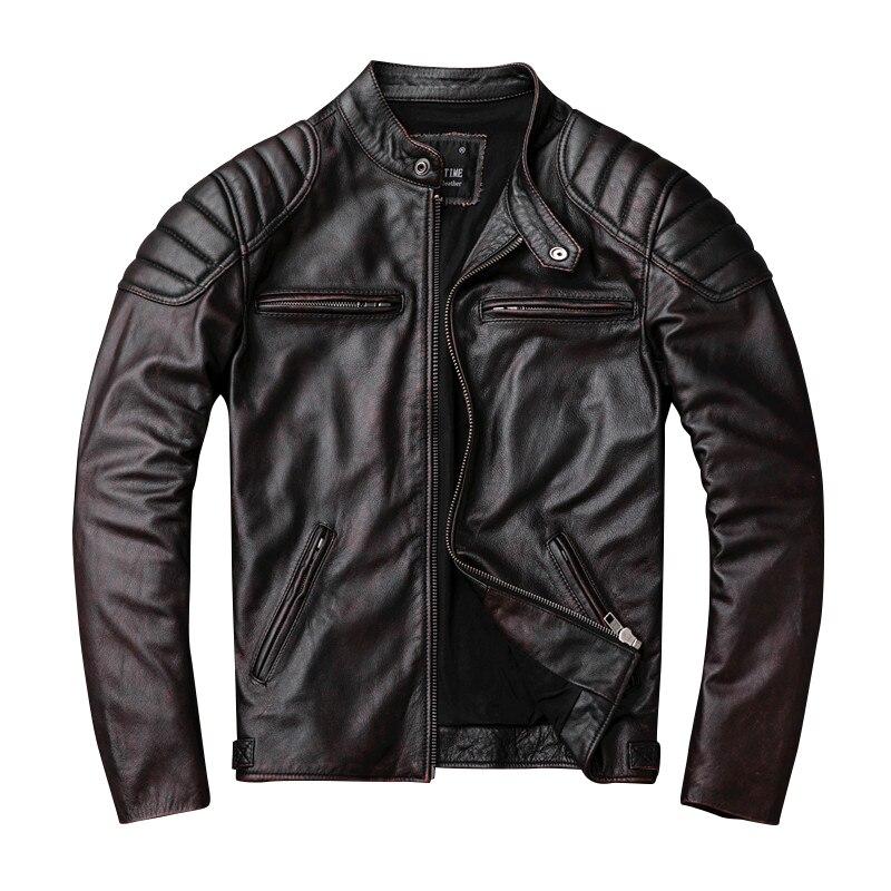 Image 2 - Free shipping,Brand vintage genuine leather jacket.mens brown motor biker cowhide coat.slim plus size jackets.outwear salesgloves militarybrand glovesgloves brand -