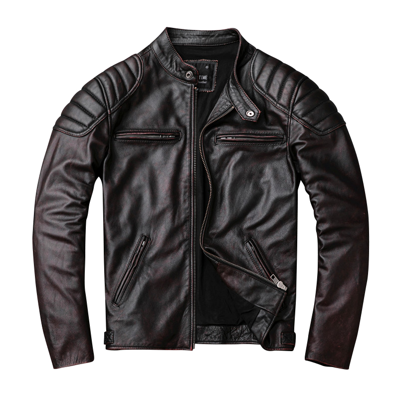 무료 배송, 브랜드 빈티지 정품 가죽 jacket. mens 브라운 모터 바이커 소 가죽 coat. slim 플러스 사이즈 jackets. outwear 판매-에서진짜가죽 코트부터 남성 의류 의  그룹 2