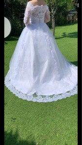 Image 4 - Vestido De Noiva Prinses Trouwjurken 2020 Tuin Off Shoulder Sheer Lange Mouwen Kralen Arabisch Robe De Mariage Bruidsjurk