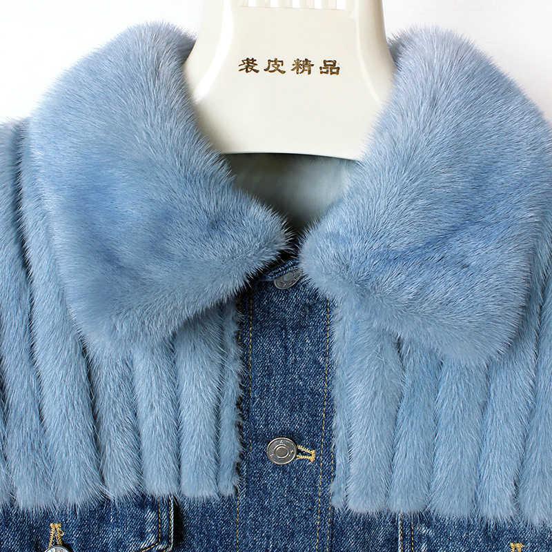 2019 Yeni Moda Gerçek Kürk Ceket Kış Ceket Kadınlar Denim Parka Gökyüzü Mavi Doğal Vizon Kürk Kabanlar Streetwear lüks