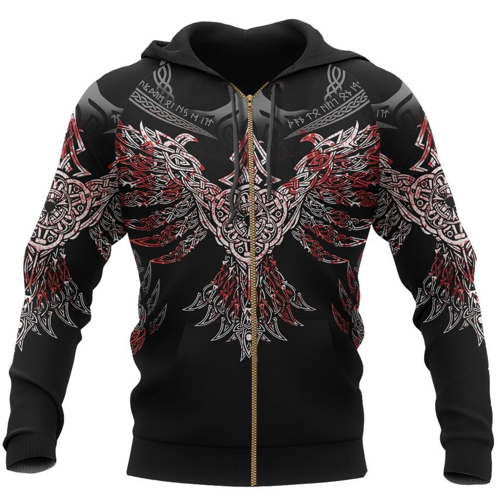 Купить viking pullover hoodie raven of odin 3d printed men women zip