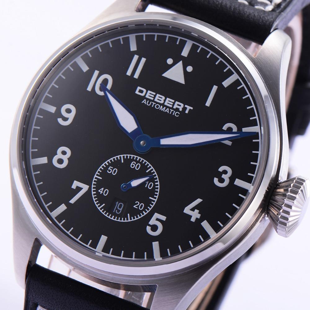 Debert 42mm Watch Men Black Dial Sapphire Crystal Leather Strap Luxury Brand Luminous Waterproof Automatic Wrist Men Watch