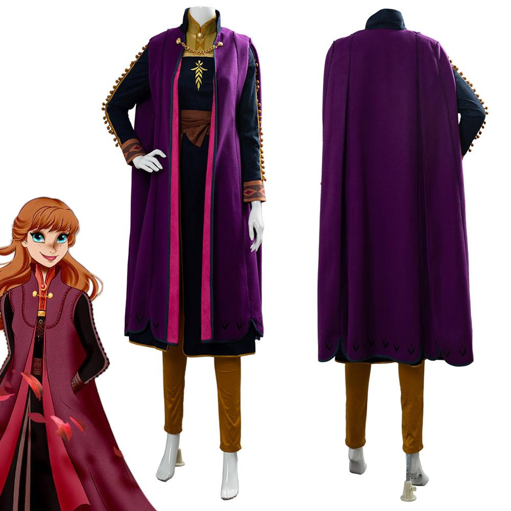 (In Stock ) Olaf's Adventure Anna Cosplay Costume Halloween Fancy Snow Grow Queen Princess Costume Elsa Anna Dress Adult Outfits