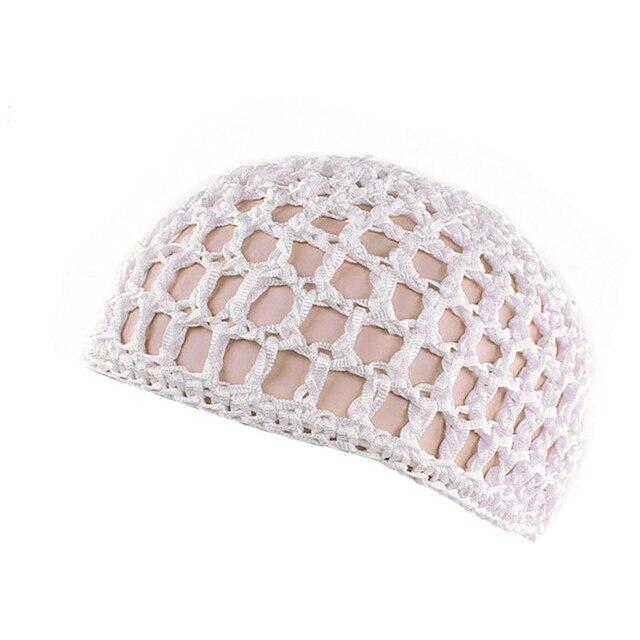 2Pc Fille Maille Filet à Cheveux Crochet Cap solide de couleur Cheveux Snood Sleeping Turban Hat
