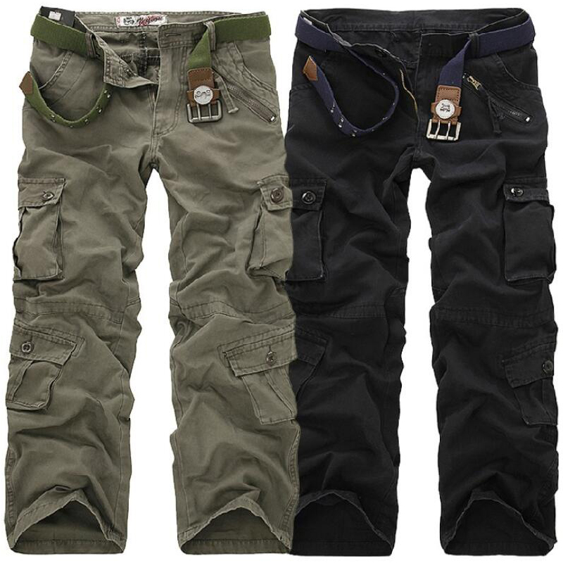 Men Cargo Pants High Quality Casual Loose Multi Pocket Camouflage Military Pants Men's street Joggers Plus Size 44 Long Trousers 1