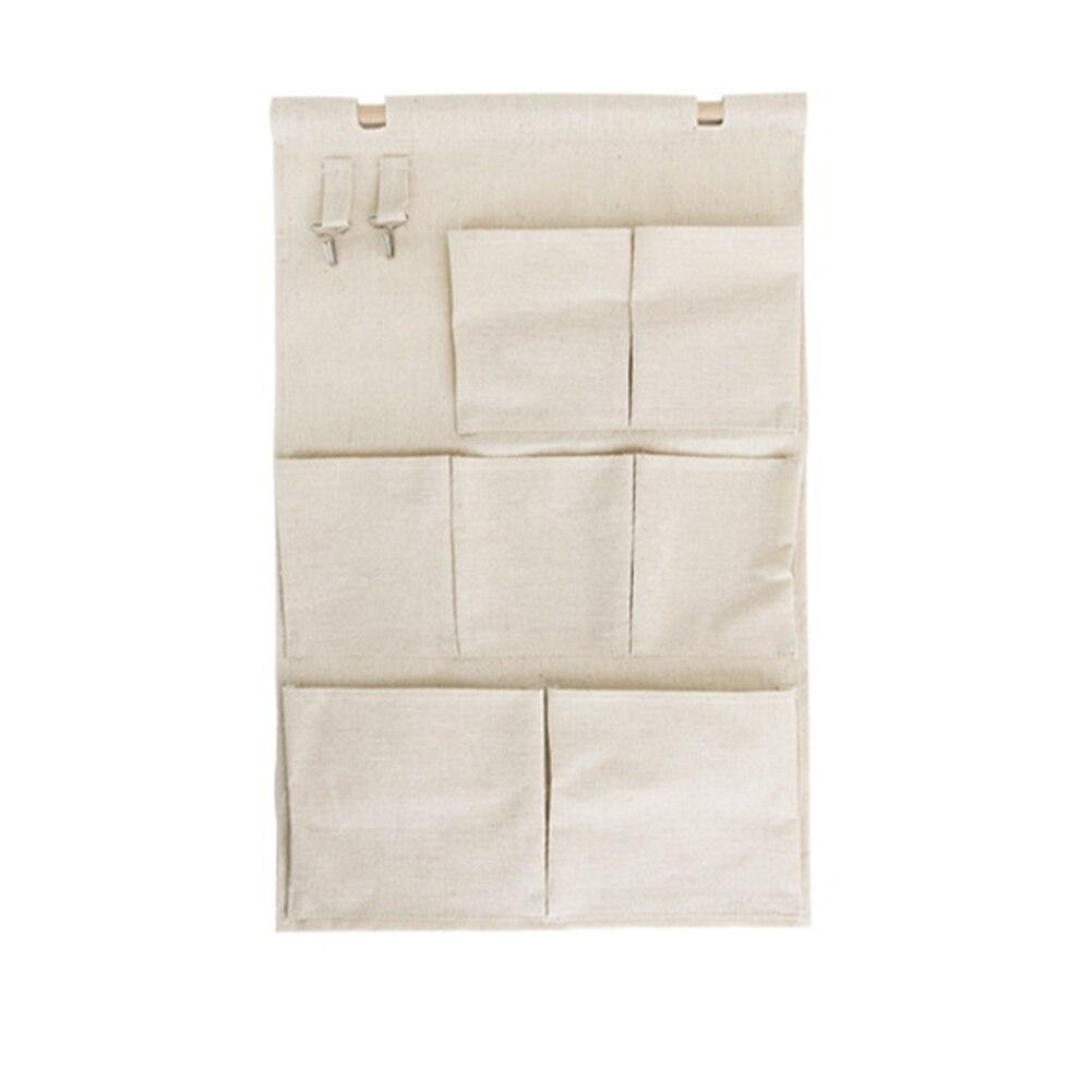 Лен/хлопок ткань поверх Стены Двери шкафа окна подвесная Сумка Для Хранения Чехол сумка-Органайзер, бежевый парусиновые 7-карман на стене