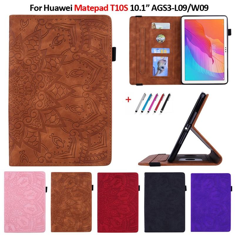 Чехол для Huawei Matepad T10s, диагональ 10,1 дюйма, рельефный чехол из искусственной кожи для планшета, чехол для Huawei Matepad T 10s