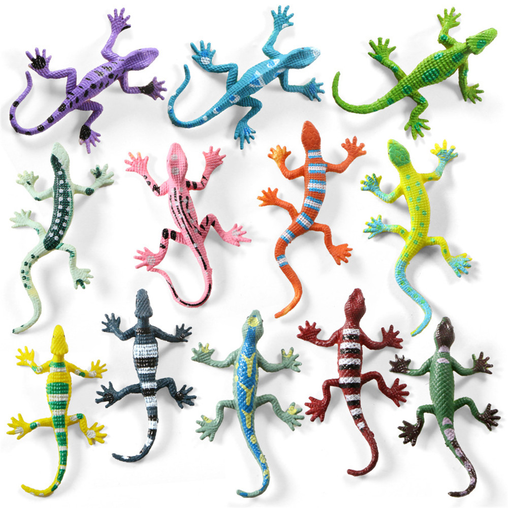 12Pcs Simulation Lizards Models Educational Realistic Reptile Action Figures Play Set Lizards Models Perfect Party Model Toys