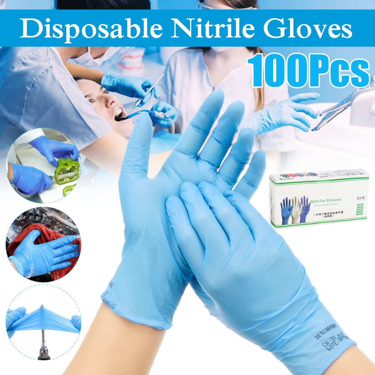 100Pcs/box Household Cleaning Washing Disposable Mechanic Gloves Blue Nitrile Laboratory Nail Art Anti-Static Gloves 3 Size
