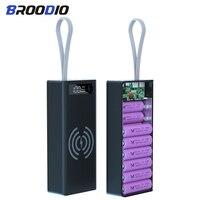 16*18650 caja del cargador de batería Banco de la energía de funda, soporte Dual USB pantalla LCD rápido y inalámbrico cargador de batería de almacenamiento con diseño de concha